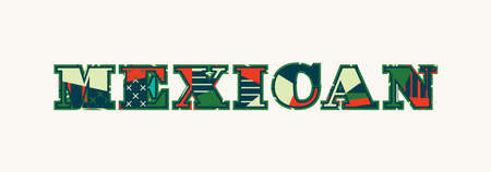The word MEXICAN concept written in colorful abstract typography. Vector EPS 10 available. Фото со стока - 100397458