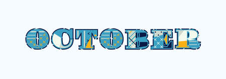 The word OCTOBER concept written in colorful abstract typography. Vector EPS 10 available.