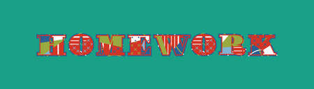 The word HOMEWORK concept written in colorful abstract typography. Vector EPS 10 available. 일러스트