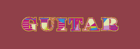 The word GUITAR concept written in colorful abstract typography. Vector EPS 10 available. Ilustração