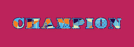 The word CHAMPION concept written in colorful abstract typography. Vector EPS 10 available. 일러스트