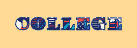 The word COLLEGE concept written in colorful abstract typography. Vector EPS 10 available. 版權商用圖片 - 100397524