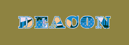 The word DEACON concept written in colorful abstract typography. Vector EPS 10 available. Ilustração