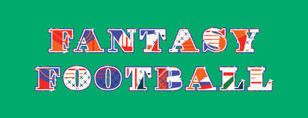 The word FANTASY FOOTBALL concept written in colorful abstract typography. Vector EPS 10 available.