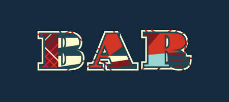 The word BAR concept written in colorful abstract typography. Vector EPS 10 available.