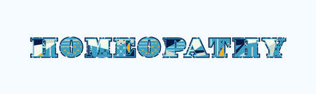 The word HOMEOPATHY concept written in colorful abstract typography. Vector EPS 10 available. 일러스트