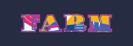 The word FARM concept written in colorful abstract typography. Vector EPS 10 available.