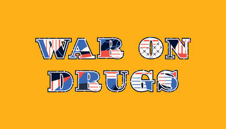 The word WAR ON DRUGS concept written in colorful abstract typography. Vector EPS 10 available.