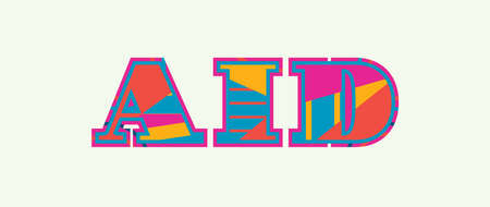 The word AID concept written in colorful abstract typography. Vector illustration