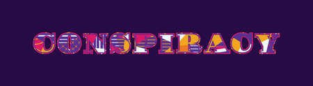 The word CONSPIRACY concept written in colorful abstract typography. Vector EPS 10 available.