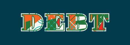 The word DEBT concept written in colorful abstract typography. Vector EPS 10 available.