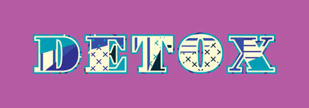 The word DETOX concept written in colorful abstract typography. Vector EPS 10 available.
