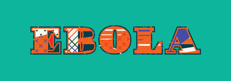The word EBOLA concept written in colorful abstract typography. Vector EPS 10 available.