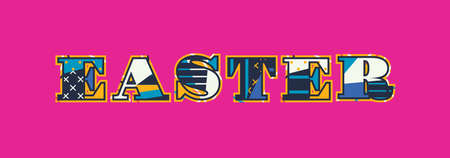 The word EASTER concept written in colorful abstract typography. Vector EPS 10 available.