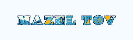 The words MAZEL TOV concept written in colorful abstract typography. Vector EPS 10 available.  イラスト・ベクター素材