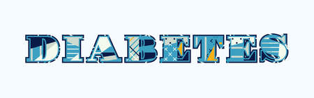 The word DIABETES concept written in colorful abstract typography. Vector EPS 10 available.