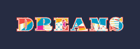 The word DREAMS concept written in colorful abstract typography. Vector EPS 10 available. Archivio Fotografico - 101035875