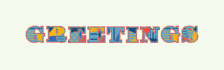 The word GREETINGS concept written in colorful abstract typography. Vector EPS 10 available. Stock Illustratie