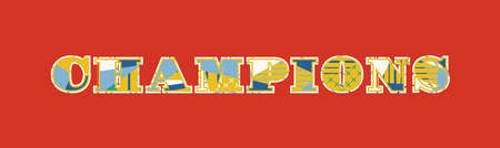 The word CHAMPIONS concept written in colorful abstract typography. Vector EPS 10 available. Stok Fotoğraf - 101035990