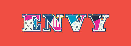 The word ENVY concept written in colorful abstract typography. Vector EPS 10 available. Illustration