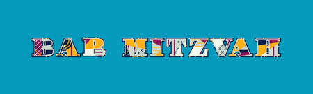 The words BAR MITZVAH concept written in colorful abstract typography. Vector EPS 10 available.