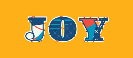 The word JOY concept written in colorful abstract typography. Vector EPS 10 available.
