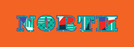 The word NORTH concept written in colorful abstract typography. Vector EPS 10 available.