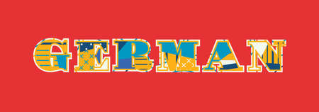 The word GERMAN concept written in colorful abstract typography. Vector EPS 10 available.