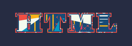 The word HTML concept written in colorful abstract typography. Vector EPS 10 available.