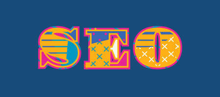 The word SEO concept written in colorful abstract typography. Vector EPS 10 available.