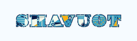 The word SHAVUOT concept written in colorful abstract typography. Vector EPS 10 available.
