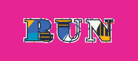 The word RUN concept written in colorful abstract typography. Vector EPS 10 available.  イラスト・ベクター素材
