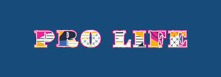The word PRO LIFE concept written in colorful abstract typography. Vector EPS 10 available. Illustration