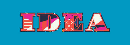 The word IDEA concept written in colorful abstract typography. Vector EPS 10 available.