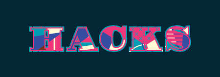 The word HACKS concept written in colorful abstract typography. Vector EPS 10 available.