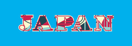 The word JAPAN concept written in colorful abstract typography. Vector EPS 10 available. Illustration