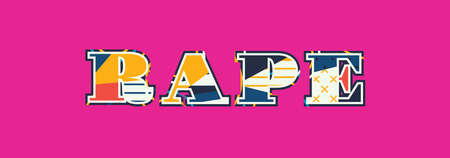 The word RAPE concept written in colorful abstract typography. Vector EPS 10 available.