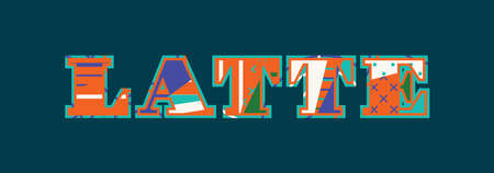 The word LATTE concept written in colorful abstract typography. Vector EPS 10 available.