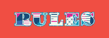 The word RULES concept written in colorful abstract typography. Vector EPS 10 available. Illusztráció