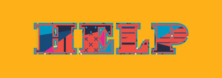 The word HELP concept written in colorful abstract typography. Vector EPS 10 available.