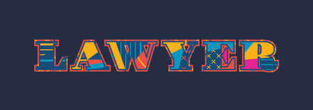 The word LAWYER concept written in colorful abstract typography. Vector EPS 10 available.