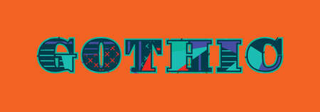 The word GOTHIC concept written in colorful abstract typography. Vector EPS 10 available. Stok Fotoğraf - 101285193