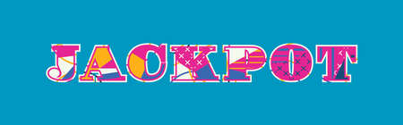 The word JACKPOT concept written in colorful abstract typography. Vector