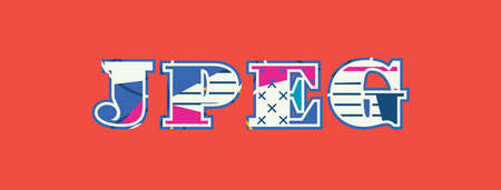 The word JPEG concept written in colorful abstract typography. Vector EPS 10 available.