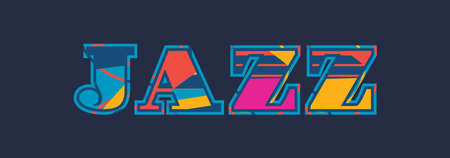 The word JAZZ concept written in colorful abstract typography. Vector EPS 10 available.