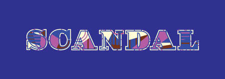 The word SCANDAL concept written in colorful abstract typography. Vector EPS 10 available.