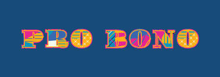 The words PRO BONO concept written in colorful abstract typography. Vector EPS 10 available.
