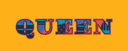 The word QUEEN concept written in colorful abstract typography. Vector EPS 10 available.