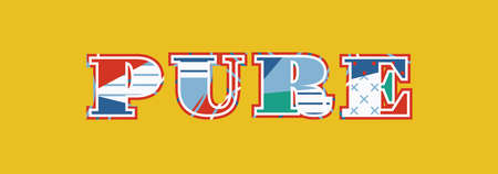 The word PURE concept written in colorful abstract typography.