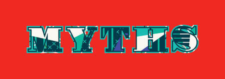 The word MYTHS concept written in colorful abstract typography.